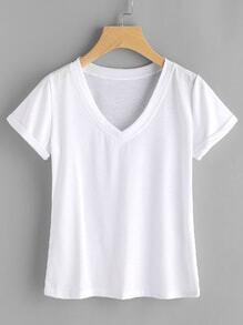 Camiseta de doblez escote V