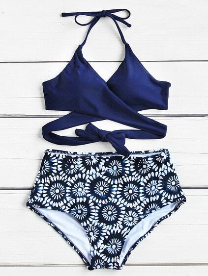 Calico Print Wrap High Waist Bikini Set