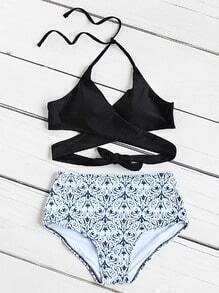 Ensemble de bikini à taille haute et imprimé mixte