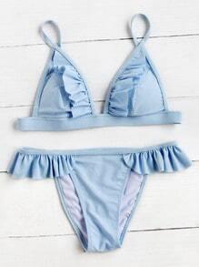 Sets de bikini triángulo con detalle fruncido