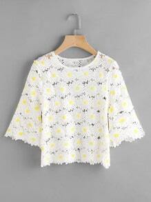Fluted Sleeve Hollow Out Flower Lace Blouse