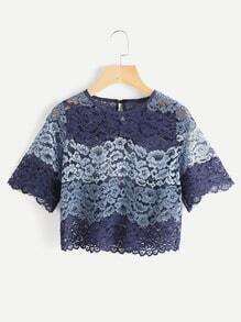 Hollow Out Keyhole Back Contrast Lace Blouse