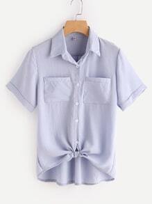 Self Tie Front Shirt With Dual Chest Pockets
