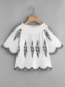 Shirred Neck Eyelet Embroidered Scallop Hem Blouse
