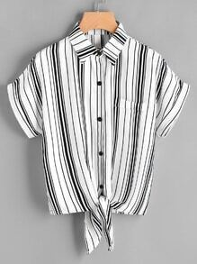 Striped Self Tie Front Shirt With Chest Pocket