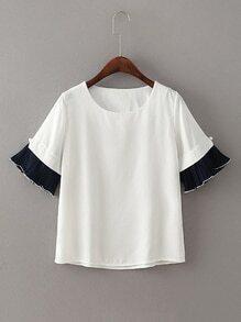 Tee-shirt bicolore ruché avec des perles