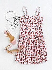 Vestido de tirante línea A de espalda elástica con estampado al azar de cereza