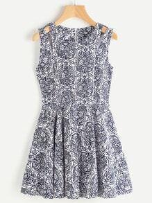 Random Zip Back Cut Out Shoulder Flare Dress