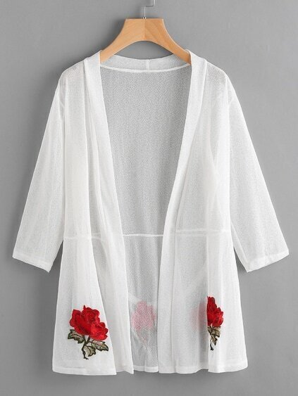 Embroidered Patch Sheer Mesh Longline Kimono