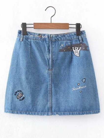 Embroided Denim A Line Shorts