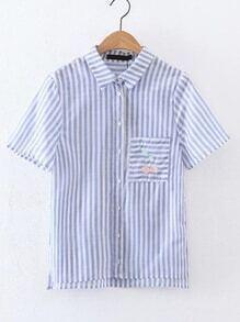 Blusa irregular contraste de rayas con bolsillo