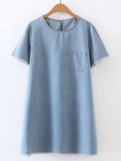 Frayed Hem Keyhole Back Denim Dress