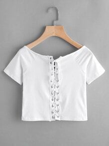 Boat Neckline Eyelet Lace Up Tee