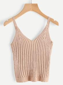 V Neckline Ribbed Knit Cami Top