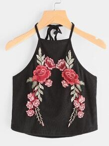 Halter Neck Rose Embroidered Patch Ribbed Cami Top