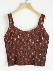 Ditsy Print Pleated Cami Top