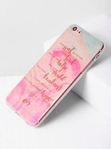 Funda para iPhone 6 Plus/6s Plus transparente con estampado de slogan y acuarela
