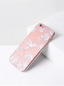 Funda para iPhone 6/6s transparente con estampado de pájaro y flor