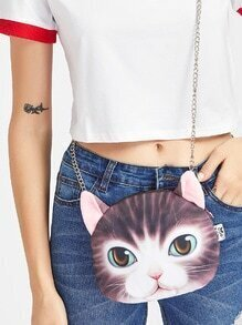 Cat Shaped Crossbody Bag With Chain