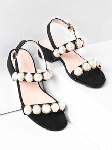 Sandalias de tacón bajo con adornos de perla de imitación
