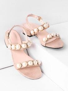 Faux Pearl Embellished Low Heeled Sandals