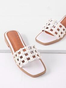 Faux Pearl Detail Cut Out Sandals