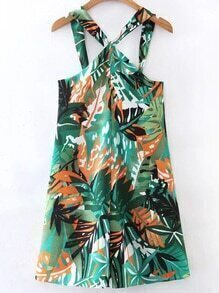 Tropical Print Criss Cross Back Playsuit