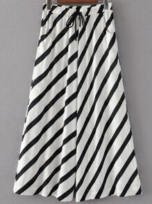 Drawstring Waist Contrast Striped Palazzo Leg Pants