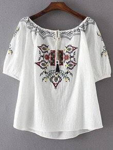 Boat Neckline Aztec Embroidery Blouse With Fringe