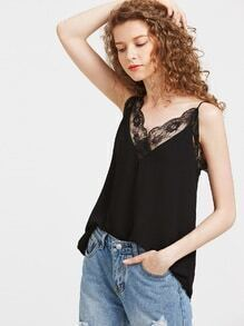 Contraste Lace Chiffon Cami Top