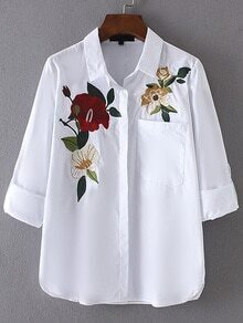 Roll-Up Sleeve Embroidery Blouse With Pocket