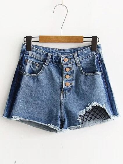 Ripped Raw Hem Shorts en denim à mailles ouvertes