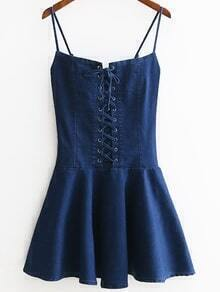 Eyelet Lace Up Front Zipper Side Denim Cami Vestido