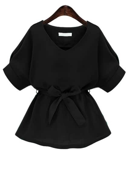 V Neckline Self Tie Blouse
