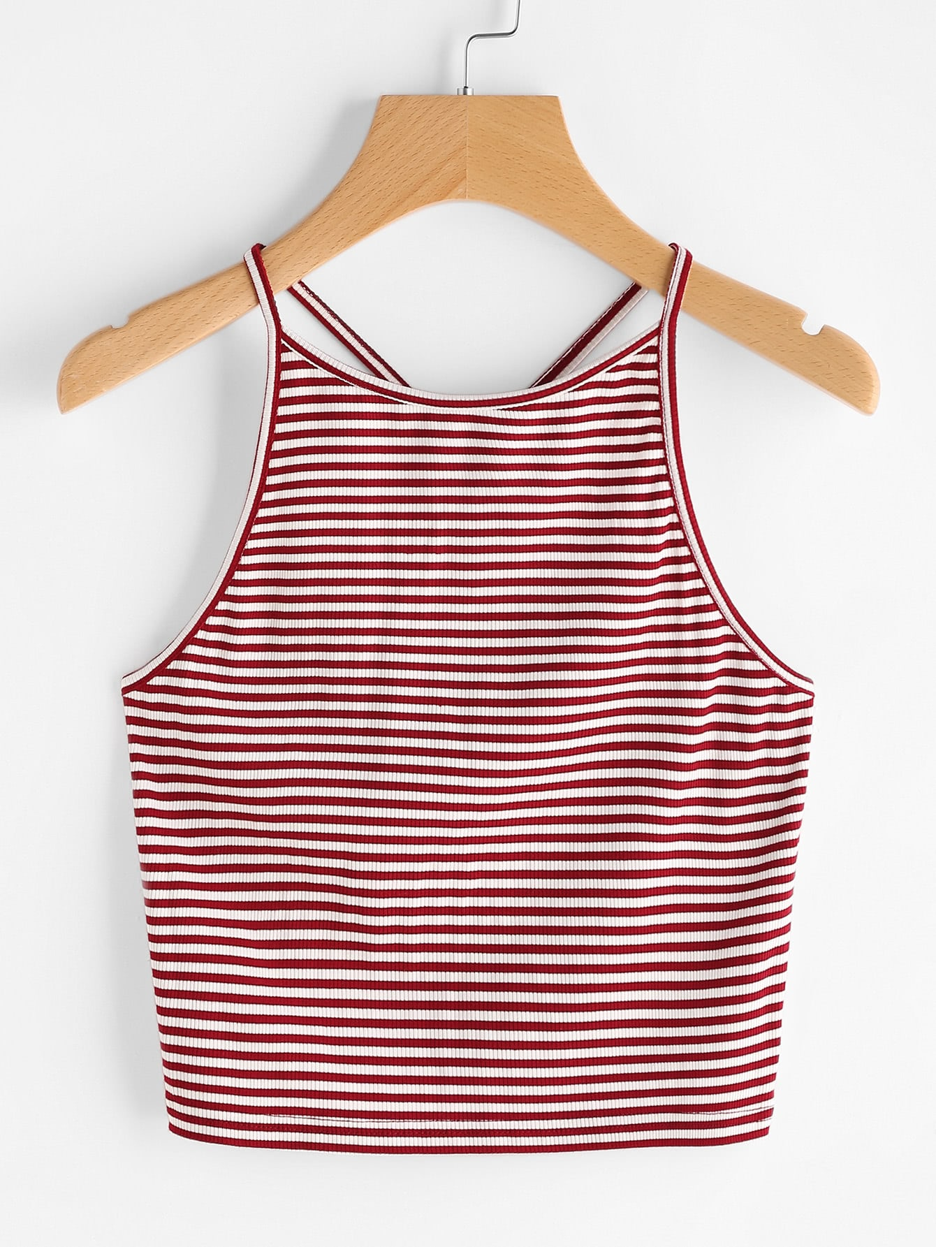 Pinstripe Criss Cross Back Cami Top vest170407002
