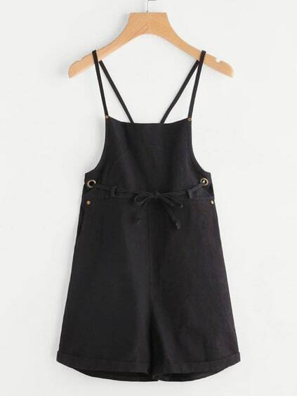 Criss Cross Back Metal Eyelet Overall Shorts