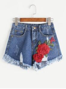 Zerrissene Applikationen Frayed Hem Denim Shorts
