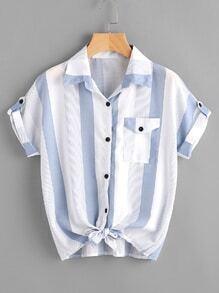 Blusa de rayas de mangas remangadas con nudo en la parte delantera