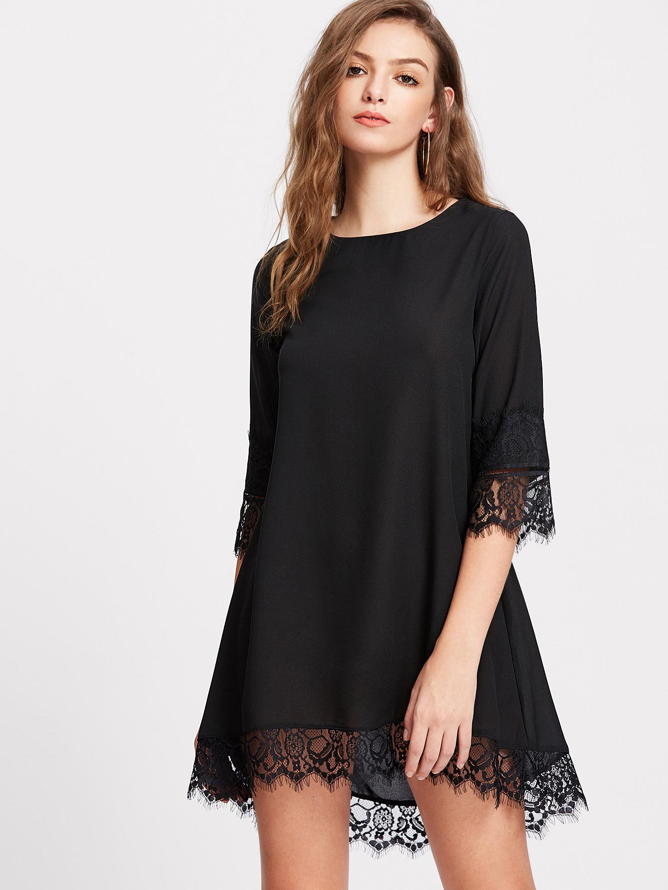 Eyelash Lace Trim Dip Hem Dress