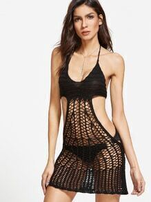 Black Halter Hollow out Crochet Cover Up Dress