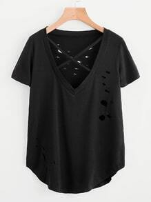 V Neckline Criss Cross Ripped Tee