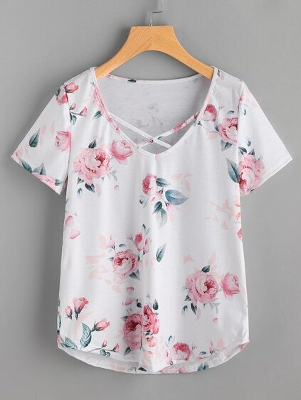 Floral Print Crisscross Front Tee