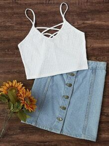 Criss Cross Front Ribbed Cami Top