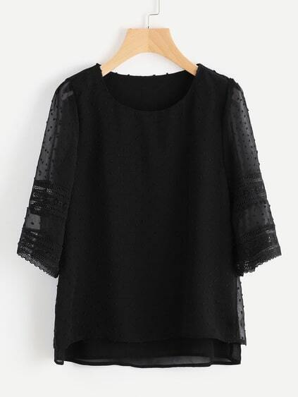 Lace Insert Hollow Out Dobby Chiffon Overlay Blouse