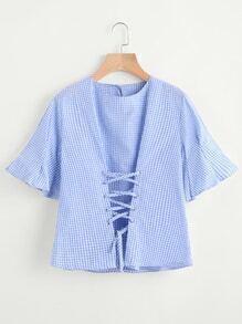 Blusa estampada de guingán de ojal con cordón