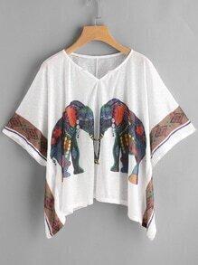 Kimono Sleeve Elephant Print Hanky Hem Top