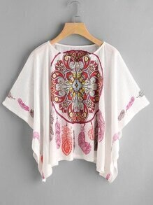 Bluse mit Kimonoärmeln und Vintagemuster