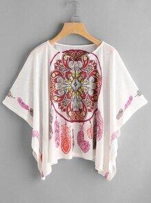Kimono Sleeve Vintage Print Hanky Hem Top