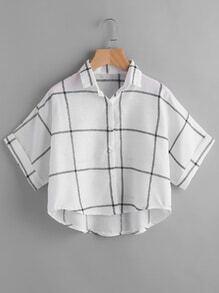 Blusa de manga de doblez con estampado de guingán