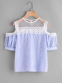 Open Shoulder Pinstriped Contrast Lace Blouse